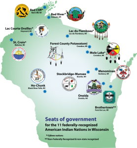 A map showing the outline of the state of wisconsin with images of tribal seals over the location of the state's Native Nations.